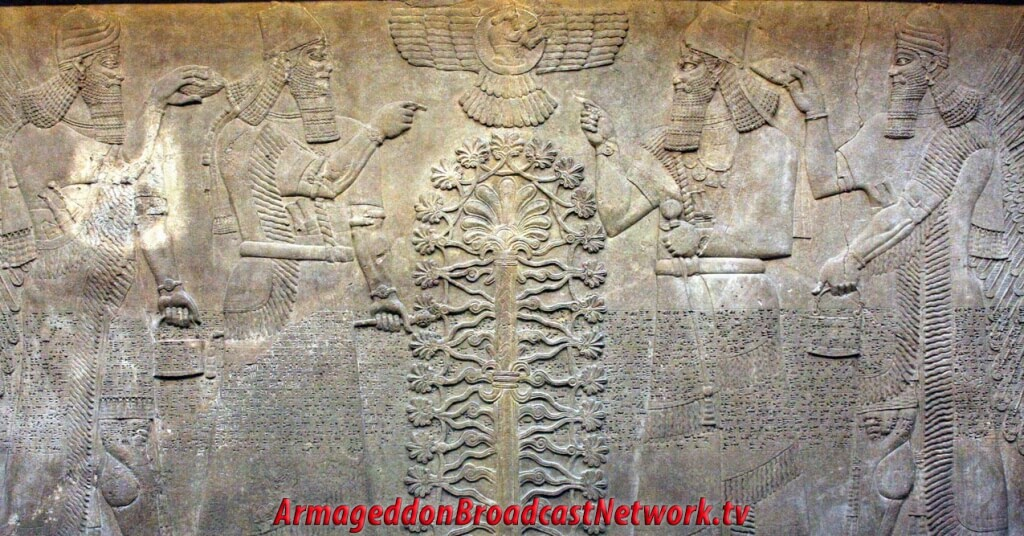 Annunaki Aliens, the Gods, circled around the Tree of Life with the Winged Disk image overhead.