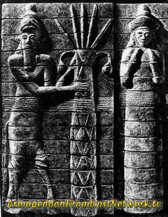 Enlil and his spouse Ninlil Petroglyph - Armageddon Broadcast Network