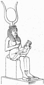 Goddess Isis nursing Horus, wearing the headdress of Hathor - Armageddon Broadcast Network