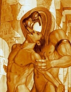 The Egyptian God Horus making love with his brother Set (Seth)